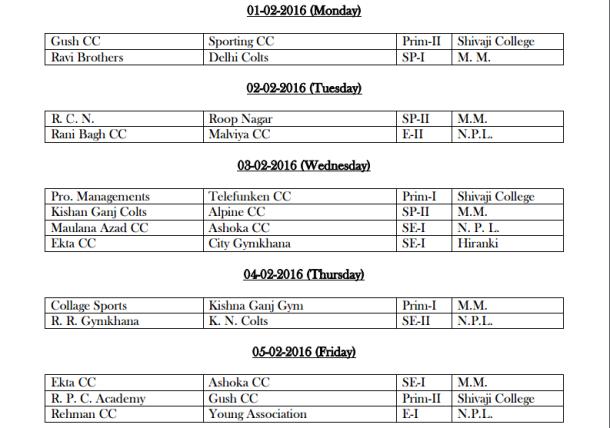 DDCA League February Fixtures 1