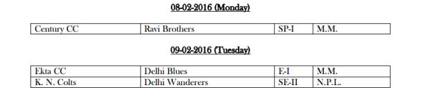 DDCA League February Fixtures 2