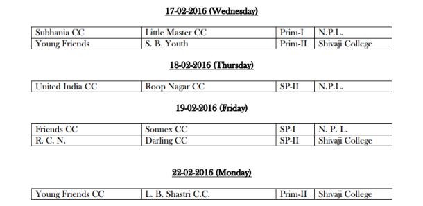 DDCA League February Fixtures 4
