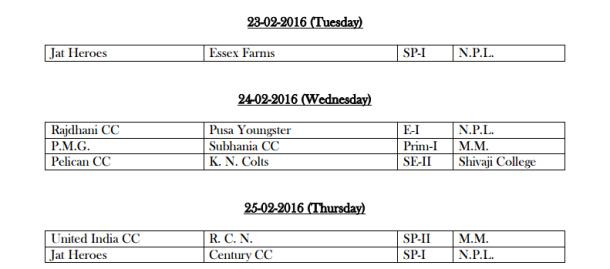 DDCA League February Fixtures 5