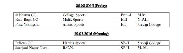 DDCA League February Fixtures 6