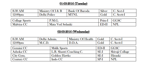 DDCA League Fixtures March 1