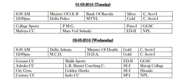 DDCA League Fixtures March 1