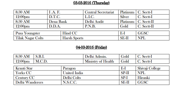 DDCA League Fixtures March 2