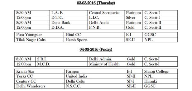 DDCA League Fixtures March 2