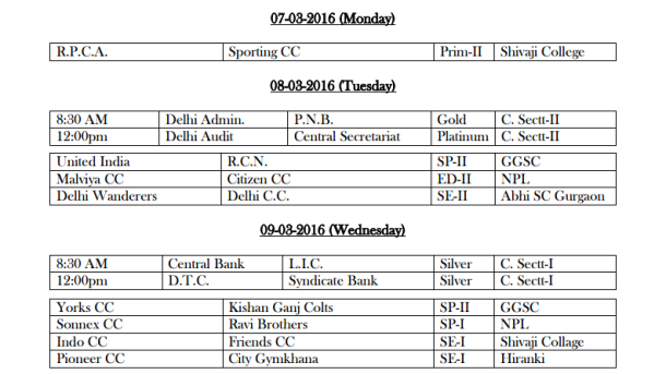 DDCA League Fixtures March 3