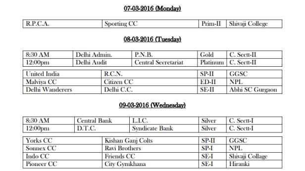 DDCA League Fixtures March 3