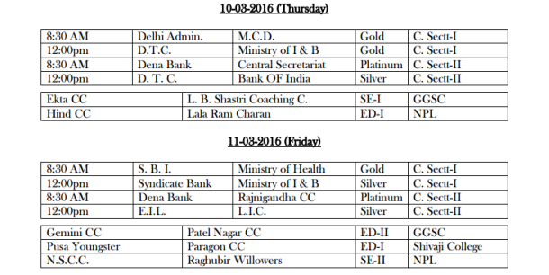 DDCA League Fixtures March 4