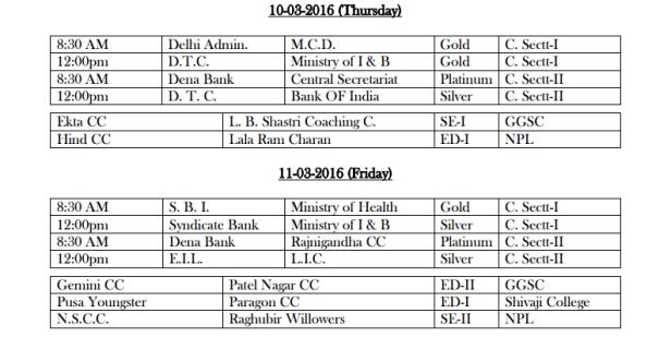 DDCA League Fixtures March 4