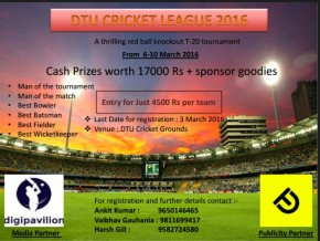 DTU Inter-College Cricket League begins 6th March; Team Registrations open till 3rd March