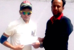 Akash Rawat Received man of the match award from Haider Haseen in TYCA CRicket