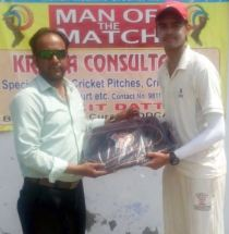 Alipt Gupta received man of the match award from Haseen Haider in TYCA Cricket
