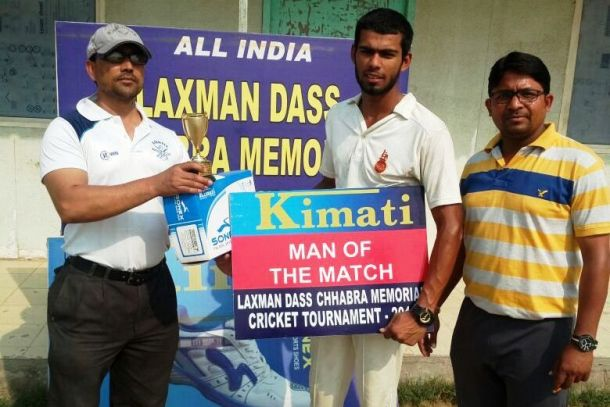 Ankit Chillar received man of the match in Laxman cricket