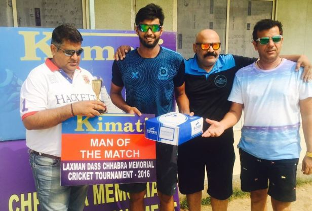 Pratham Singh received man of the match award from Rohit Sharma in Laxman Das Cricket
