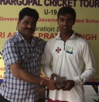 Ritik Kanojia received man of the match award from Vijay Bahadur Mishra in Hargopal Cricket