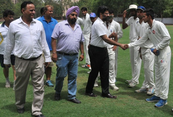 41st Lala Raghubirsingh Hot Weather Cricket tournament inaugureted by Vijay Dutta Principal Modern School with DP Singh and Balbir Sharma and Naveen Chopra