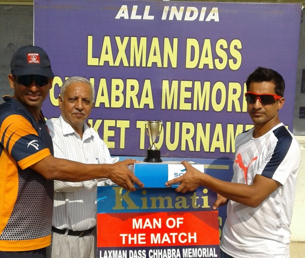 Mithu Manhas received man of the match from Mohd. Saif In Laxman DAs Cricket