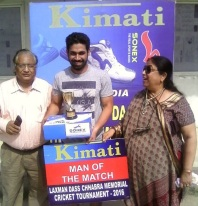 Rahul Tyagi Man of match in Laxman Dass Memorial