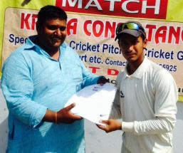 Shubham Chauhan received man of the match from Ajay Yadav in TYCA Cricket